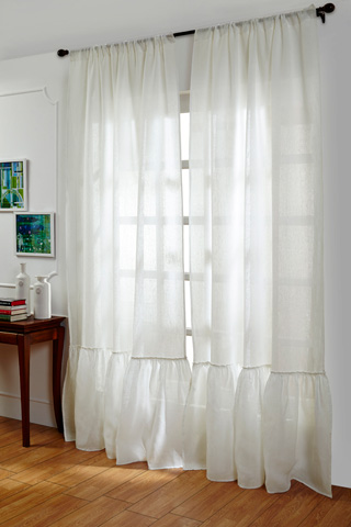 Image of Caprice White Linen Curtains