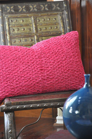Image of Gracie Bolster Pillow in Hot Pink