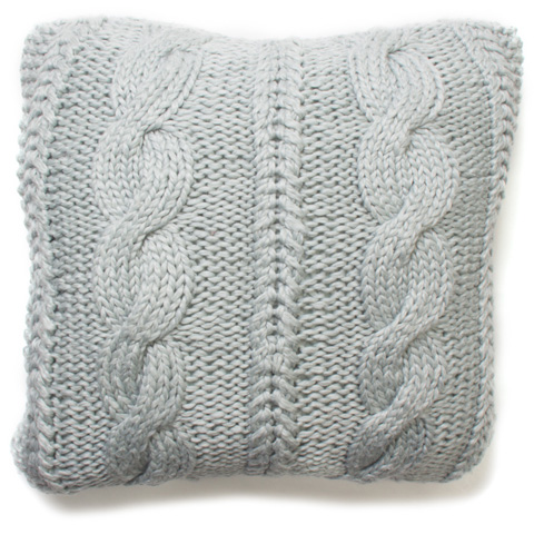 Image of Raj Knitted Wool Pillow in Misty Blue