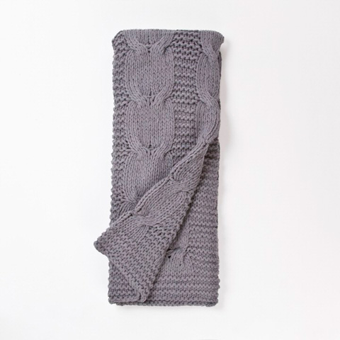 Image of Micah Knitted Cotton Throw in Steel Blue