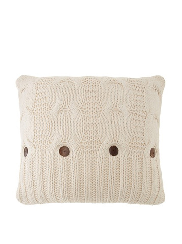 Image of Micah Knitted Cotton Pillow in Natural