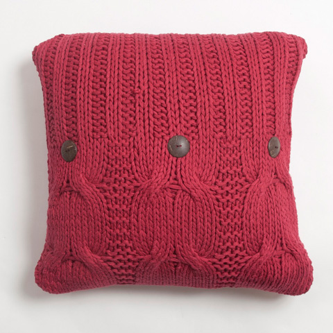 Image of Micah Knitted Cotton Pillow in Red