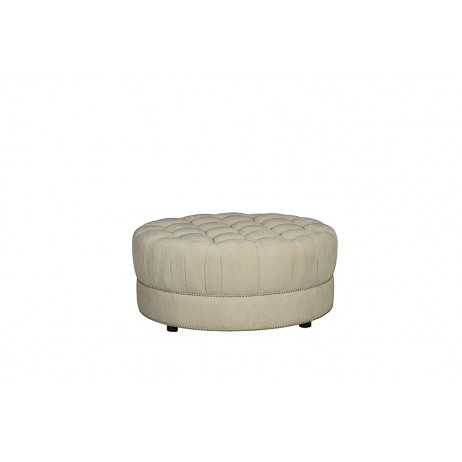 Image of Amanda Ivory Round Cocktail Ottoman
