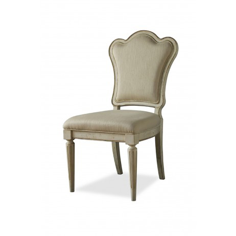 Image of Upholstered Back Side Chair in Linen