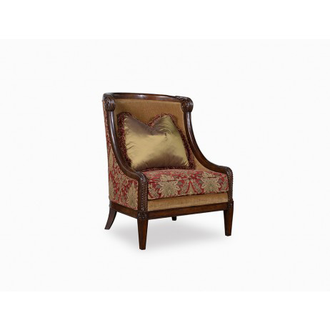 Image of Carved Wood Accent Chair