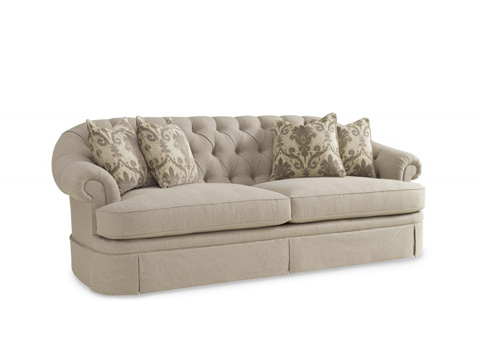Image of Oxford Tufted Skirted Sofa
