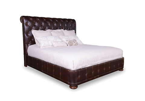 Image of King Upholstered Platform Bed in Barrel Oak