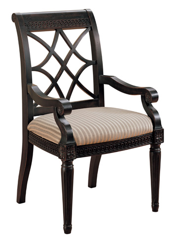 Image of Fret-Back Upholstered Arm Chair