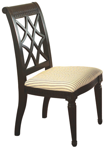 Image of Fret-Back Upholstered Side Chair