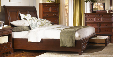 Image of Queen Sleigh Bed with Storage Footboard