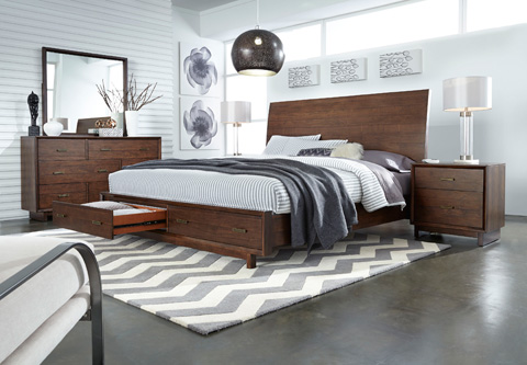 Aspenhome - Queen Sleigh Storage Bed - IWH-BED