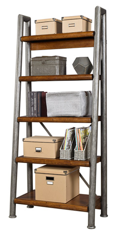 Image of Leaning Metal and Wood Bookcase