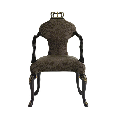 Image of Decorated Queen Anne Arm Chair