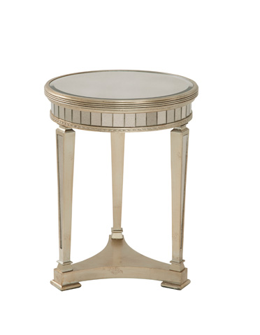 Image of Borghese Round Mirrored End Table