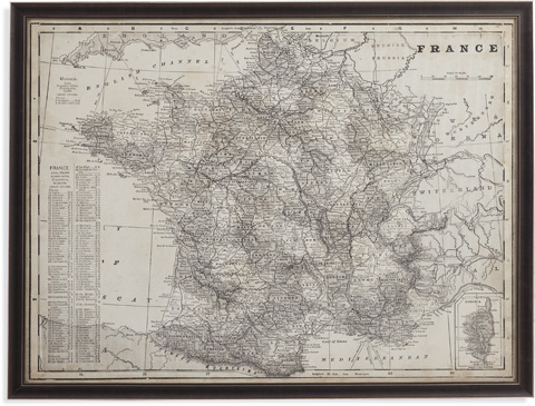 Bassett Mirror Company - Antique Map of France - 9900-347
