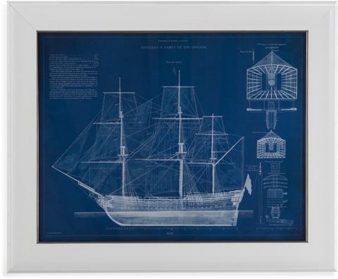 Bassett Mirror Company - Antique Ship Blueprint IV - 9900-529B