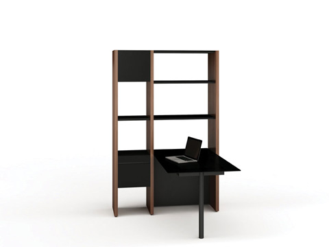 BDI - Desk with Bookshelf - 5412-PB
