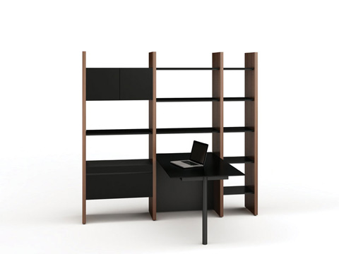 BDI - Desk with Bookshelf - 5413-PN
