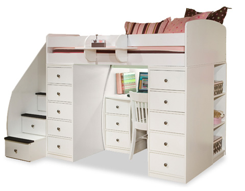 Image of Twin Loft with Desk and Two Chests