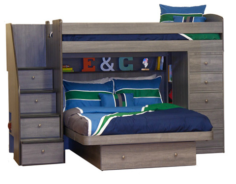 Image of Twin over Full Bunk Bed with Chest