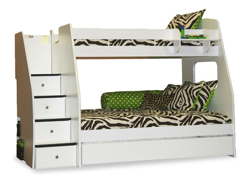 Image of Twin over Full Bunk Bed with Stairs