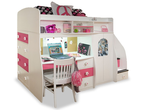 Image of Twin Loft Bed with Play Area and Desk