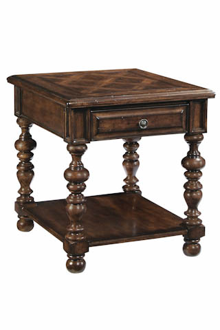 Image of Carved Wooden End Table