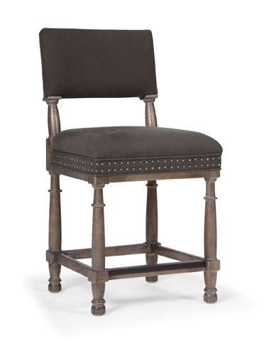 Image of Belgian Oak Upholstered Counter Stool