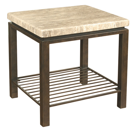 Bernhardt - Tempo Travertine Square End Table - 498-121