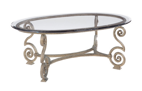 Bernhardt - Solano Glass Top Oval Cocktail Table - 364-013, 364-014