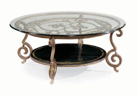 Bernhardt - Zambrano Round Glass Top Cocktail Table - 582-015, 582-016