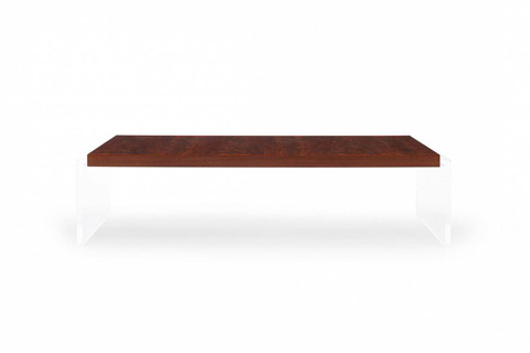 Image of Objets Walnut and Acrylic Cocktail Table