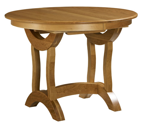 Image of Crescent Round Trestle Solid Top Pub Table
