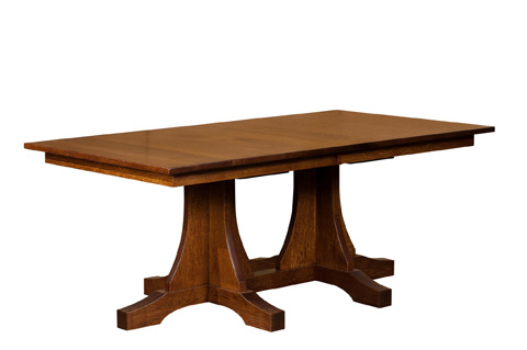 Image of Double Pedestal Mission Solid Top Dining Table