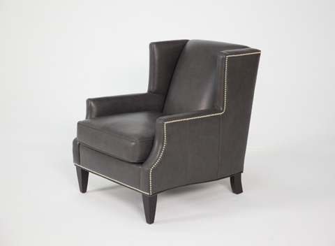 Image of Black Leather Club Chair