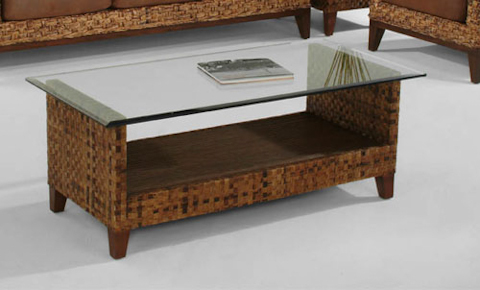 Braxton Culler - Glass Top Wicker / Rattan Cocktail  Table - 2960-072