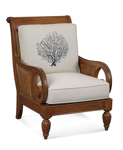 Image of Wood and Wicker Chair with Cushions