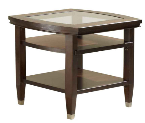 Broyhill Furniture - Northern Lights Wood End Table with Glass Top - 3312-02