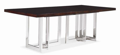 Image of Rectangular Dining Table with Metal Base