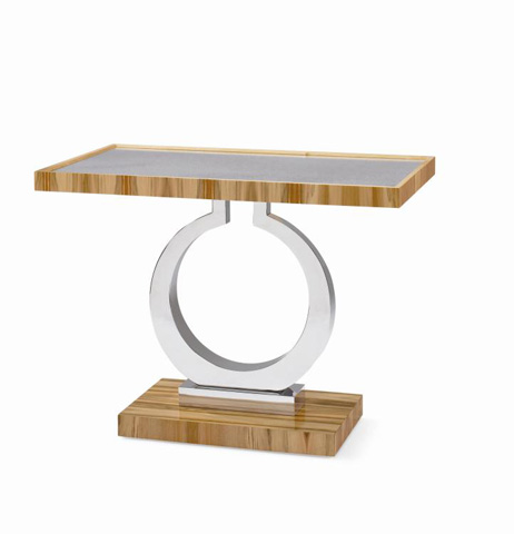 Image of Metal Pedestal Side Table with Mirrored Top