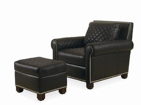 Image of Leather Chair with Ottoman