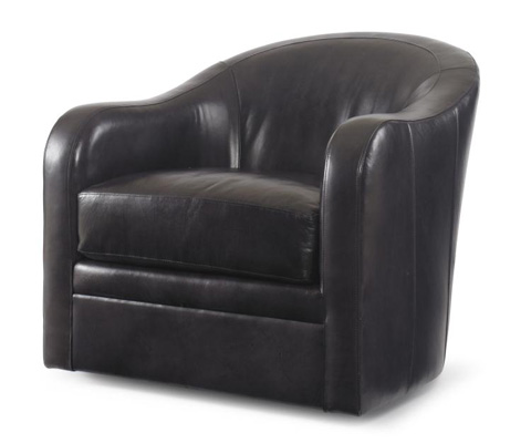 Century Furniture - Leather Swivel Chair - PLR-6508-CHARCOAL