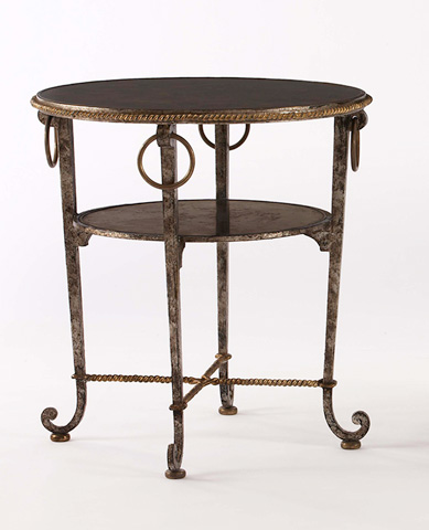 Image of Round Chairside Table with Shelf