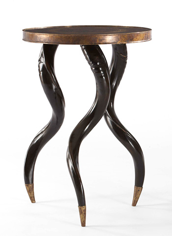Image of Metal Top Chairside Table