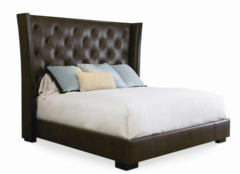 Image of Crescent Bed with Upholstered Headboard
