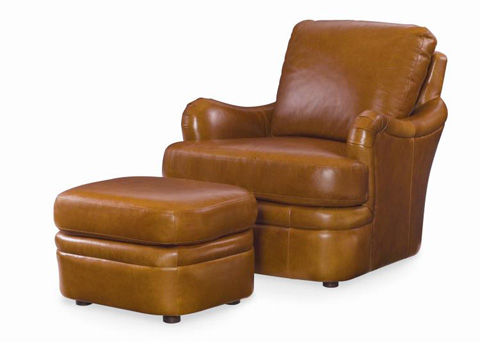 Century Furniture - Leather Chair with Ottoman - PLR-67CO-HONEY