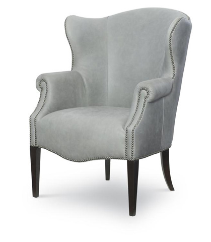 Century Furniture - Leather Wing Chair - PLR-9606-STONE