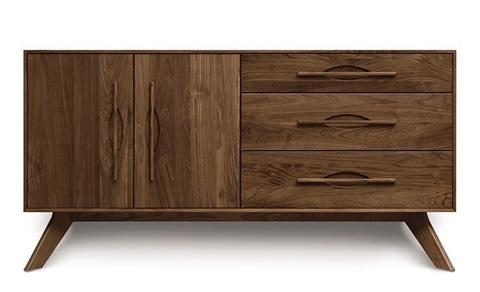 Copeland Furniture - Audrey 3 Drawer Buffet - Walnut - 6-AUD-51-04