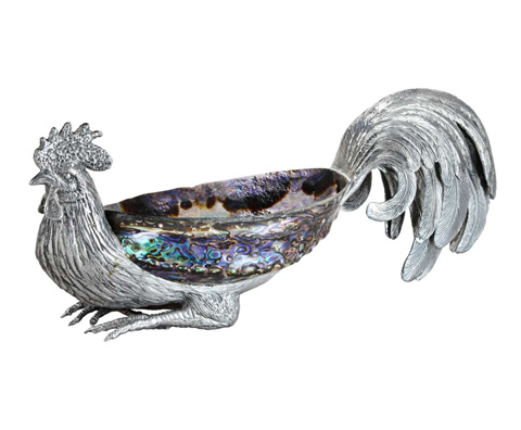 Curate by Artistica Metal Design - Rooster on Blue Paua - AC13-009
