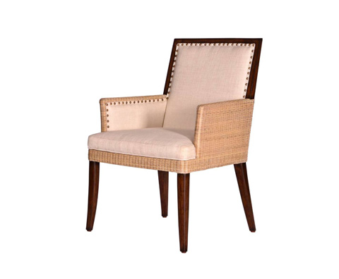 Image of Wicker and Burlap Arm Chair